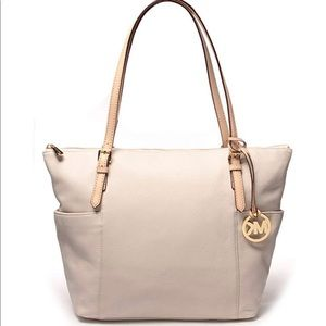 Michael Kors Bags - Michael Kors jet set east west white leather tote